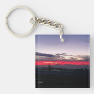 Cool Nightscape of sun setting with clouds Keychain