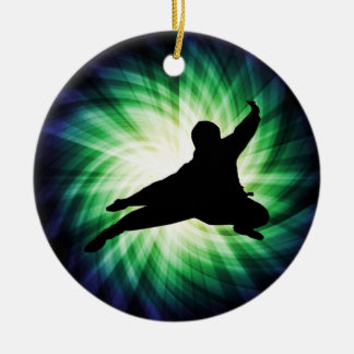 Cool Ninja Double-Sided Ceramic Round Christmas Ornament