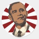 Cool Obama Retro Rays Classic Round Sticker