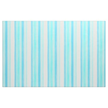 Beach Themed Cool Ocean Blue Aqua Turquoise Watercolor Stripes Fabric