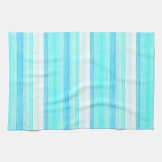 Cool Ocean Blue Aqua Turquoise Watercolor Stripes Kitchen Towel