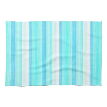Beach Themed Cool Ocean Blue Aqua Turquoise Watercolor Stripes Kitchen Towel
