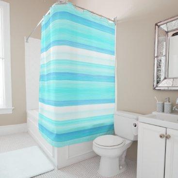 Beach Themed Cool Ocean Blue Aqua Turquoise Watercolor Stripes Shower Curtain