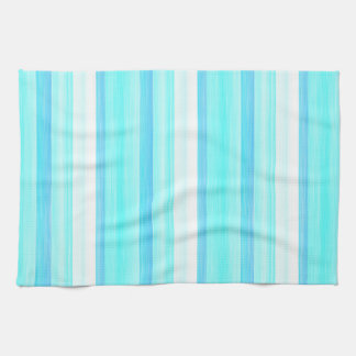 Cool Ocean Blue Aqua Turquoise Watercolor Stripes Towel