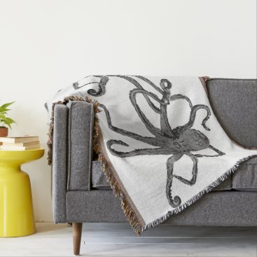 Beach Themed Cool Octopus Gray Silver Throw