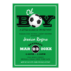 Cool 'Oh Boy' Football Soccer Sport Baby Shower Invitation