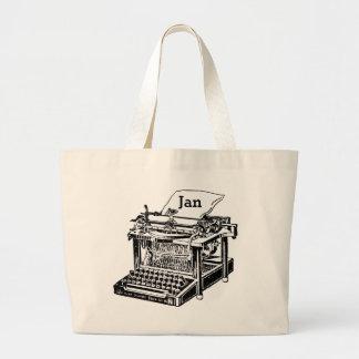 Cool Old Typewriter Graphic Totebag to Customize Large Tote Bag