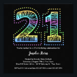 "Cool on Black 21st Birthday Party Invitation<br><div class=""desc"">The number 21 in a crazy font filled with cool,  bright colors POP on a black background.  An awesome birthday invitation for an awesome birthday.  See more at Zigglets here at Zazzle.</div>"