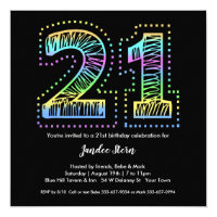 21st birthday invitations announcements zazzle cool on black 21st birthday party invitation filmwisefo