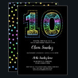 """Cool on Black Fun 10th Birthday Party Invitation<br><div class=""""desc"""">Our one-of-a-kind 10th birthday party invitation is cool with neon-like colors on the front and back on a black background.    An awesome birthday invitation for an awesome birthday.  See more at Zigglets here at Zazzle.</div>"""