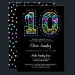 "Cool on Black Fun 10th Birthday Party Invitation<br><div class=""desc"">Our one-of-a-kind 10th birthday party invitation is cool with neon-like colors on the front and back on a black background.    An awesome birthday invitation for an awesome birthday.  See more at Zigglets here at Zazzle.</div>"