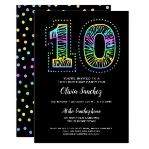 10th Birthday Invitations