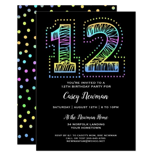 Cool On Black Fun 12th Birthday Party Invitation Zazzle Com