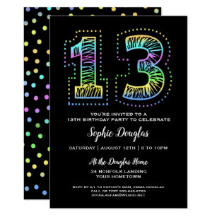 Cool birthday invitations announcements zazzle cool on black fun 13th birthday party invitation filmwisefo Choice Image