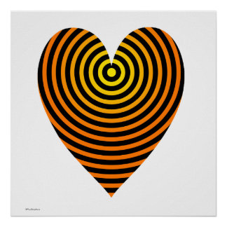 Cool Orange and Black Heart Circles Poster