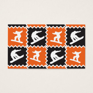 Cool Orange and Black Snowboarding Pattern Business Card