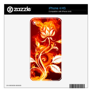 Cool Orange and Yellow Fire Flower Fire Rose iPhone 4S Skin