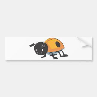 Cool Orange Baby Ladybug Cartoon Car Bumper Sticker