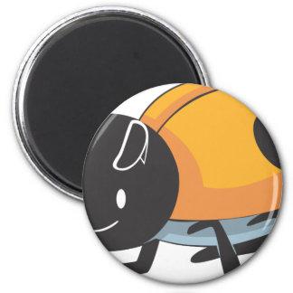 Cool Orange Baby Ladybug Cartoon Magnet