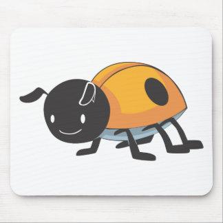 Cool Orange Baby Ladybug Cartoon Mouse Pad