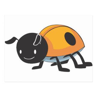 Cool Orange Baby Ladybug Cartoon Post Cards