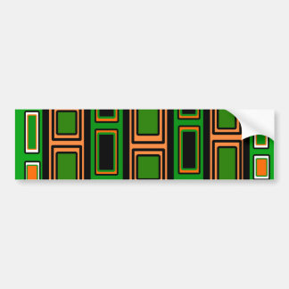 Cool orange black and green rectangle pattern car bumper sticker