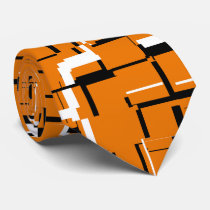 COOL Orange Black White Unique Pattern Neck Tie