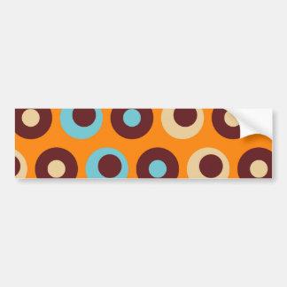 Cool Orange Blue Brown Circles Polka Dots Pattern Bumper Sticker