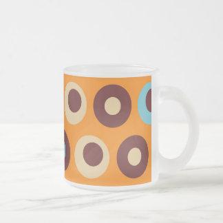 Cool Orange Blue Brown Circles Polka Dots Pattern Frosted Glass Coffee Mug