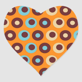 Cool Orange Blue Brown Circles Polka Dots Pattern Heart Sticker