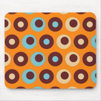 Cool Orange Blue Brown Circles Polka Dots Pattern Mouse Pad