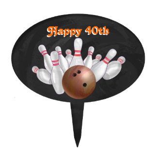 Cool Orange Bowling Ball Party Cake Topper