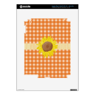 Cool orange color country style plaids, sunflowers iPad 3 decals