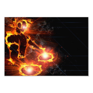 Cool orange flames DJ icon flaming fire party Card