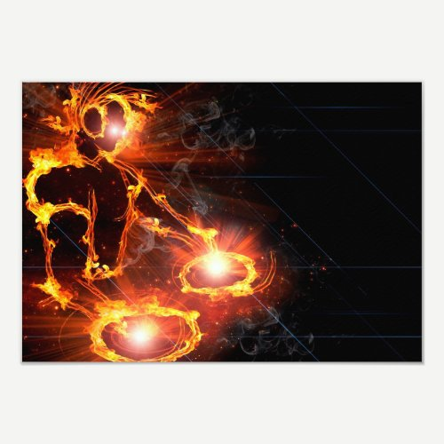 Cool orange flames DJ icon flaming fire party Invitation
