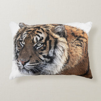 Cool Orange Majestic Tiger with Intense Stare Decorative Pillow
