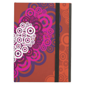 Cool Orange Purple Heart Concentric Circle Pattern iPad Cover