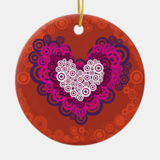 Cool Orange Purple Heart Concentric Circle Pattern Double-Sided Ceramic Round Christmas Ornament