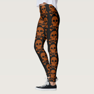 Cool Orange Skulls on Black Leggings for Halloween