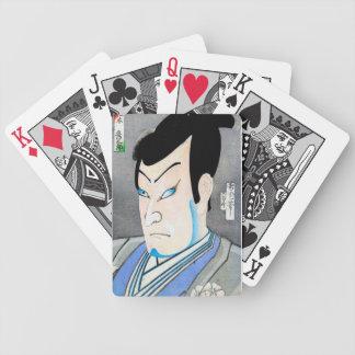 Cool orienta japanese kabuki actor portrait art poker deck