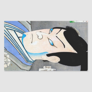 Cool orienta japanese kabuki actor portrait art rectangular sticker