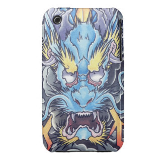 Cool Oriental Ancient  Blue Dragon God tattoo iPhone 3 Case