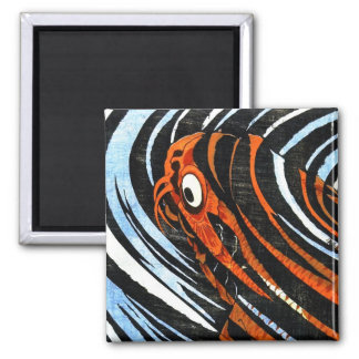 Cool oriental ancient legendary koi fish carp art 2 inch square magnet