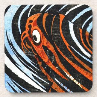 Cool oriental ancient legendary koi fish carp art coaster