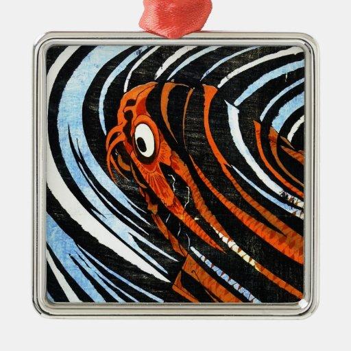Cool oriental ancient legendary koi fish carp art square metal christmas ornament