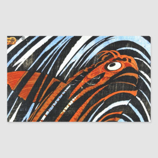 Cool oriental ancient legendary koi fish carp art rectangular sticker