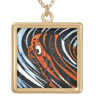 Cool oriental ancient legendary koi fish carp art square pendant necklace