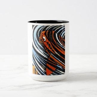 Cool oriental ancient legendary koi fish carp art Two-Tone coffee mug
