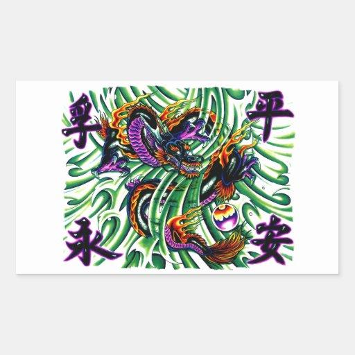 Cool oriental black Dragon Tattpp Rectangular Sticker