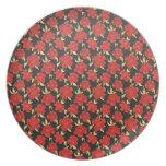 Cool oriental black red flower pattern plates
